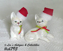 Two Vintage Christmas Kitten Figurines by Enesco Made in 1988 (Inventory... - $18.00