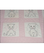 Vintage Puppies and Kittens Hand Sewn Baby Quilt (Inventory #M2809) - $100.00