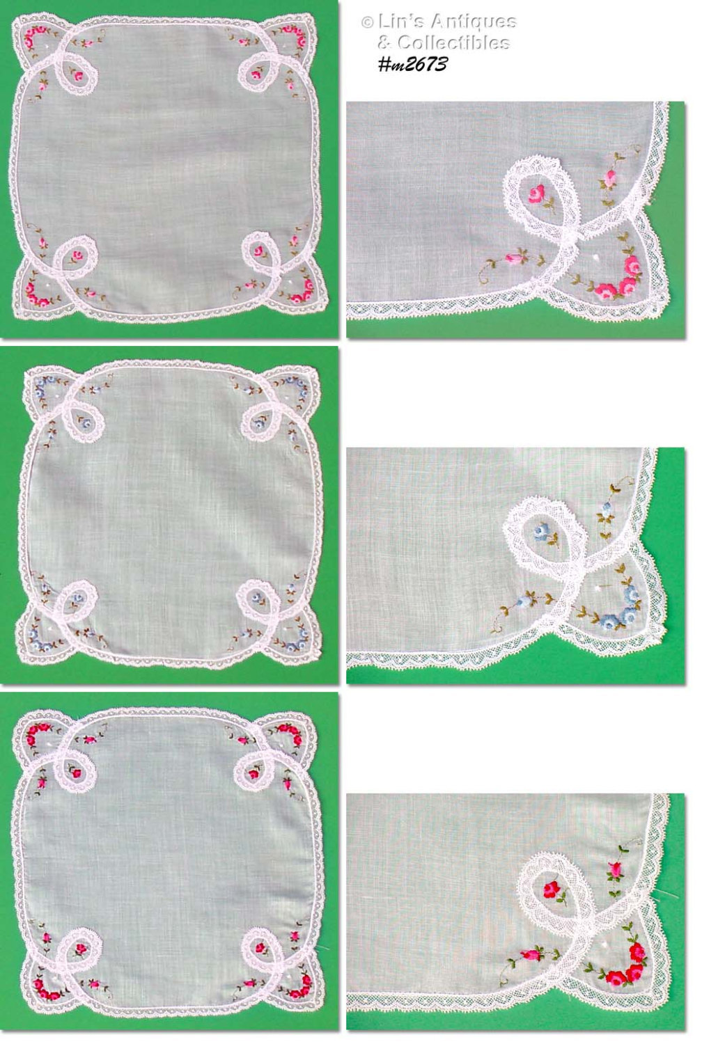 Lot of Three Vintage Handkerchiefs With Lace and Embroidered Roses (Inv. #M2673) - $38.00