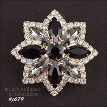 Eisenberg Ice Pin with Jet, Crystal, and Black Rhinestones (Inventory #J... - $115.56 CAD