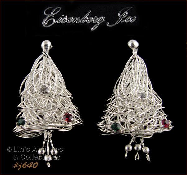 Eisenberg Ice Christmas Trees or Bells Pierced Earrings (Inventory #J640) - $48.00