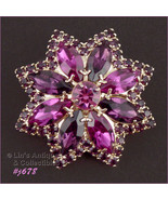 Eisenberg Ice Pin with Rose, Amethyst, and Fuchsia Rhinestones (Inventor... - $88.00