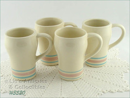 McCoy Pottery Set of Four Vintage Stonecraft Pink and Blue Tall Mugs (In... - $90.00