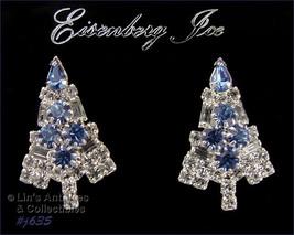 Eisenberg Ice Christmas Tree Clear and Blue Rhinestones Pierced Earrings (J635) - $68.00