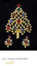 Eisenberg Multi-Color Rhinestones Christmas Tree Pin and Pierced Earrings (J290) - $80.00