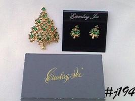 Eisenberg Ice Green Rhinestones Christmas Tree Pin and Pierced Earrings (#J194) - $90.00