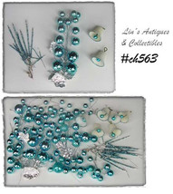 Vintage Ice Blue Ornaments, Glass Bead Picks etc for Crafting or Decor (#CH563) - $70.00