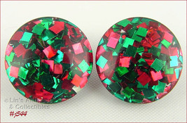 Vintage Lucite Red and Green Confetti Clip Back Earrings  (Inventory #J544) - $30.00