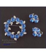 Eisenberg Ice Blue Rhinestones Pin and Earrings (#J699) - $80.00