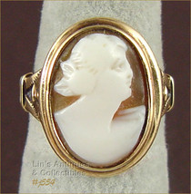 Vintage Carved Shell Cameo Ring 10K Yellow Gold Size 6 1/2 (Inventory #J554) - $190.00
