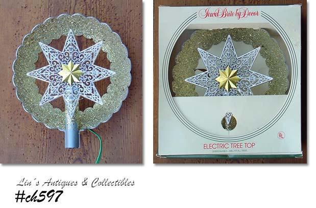 Vintage Jewel Brite Tree Topper in Original Box (Inventory #CH597) - $68.00