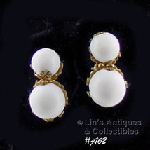 Vintage Miriam Haskell White Beads Clip-Back Style Earrings (Inventory #J462) - $38.00