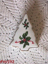 Vintage Lefton Christmas Tree Shaped and Decorated Trinket Box (inventory #M592) - $18.00