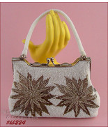 Vintage Poinsettia Beaded Design Handbag Evening Bag (Inventory #HB224) - $175.00