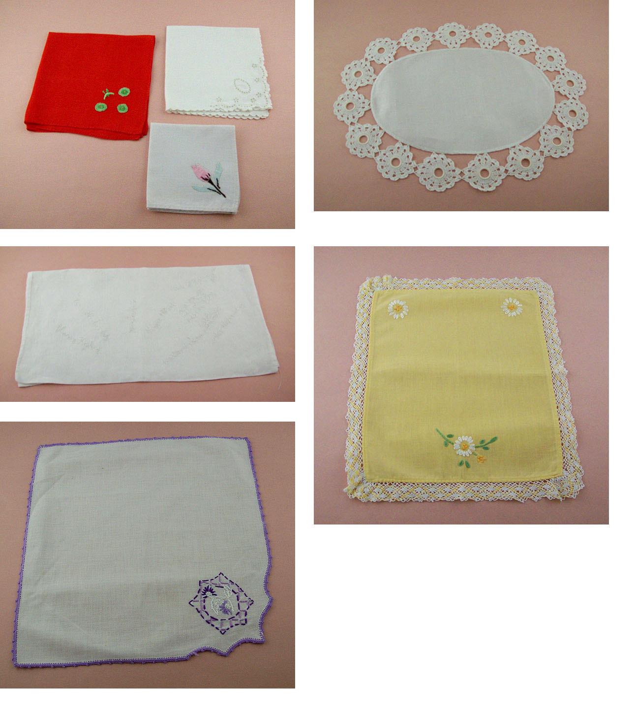 Lot of Vintage Linens and Embroidered Items Doilies and More (Inventory #E105) - $30.00