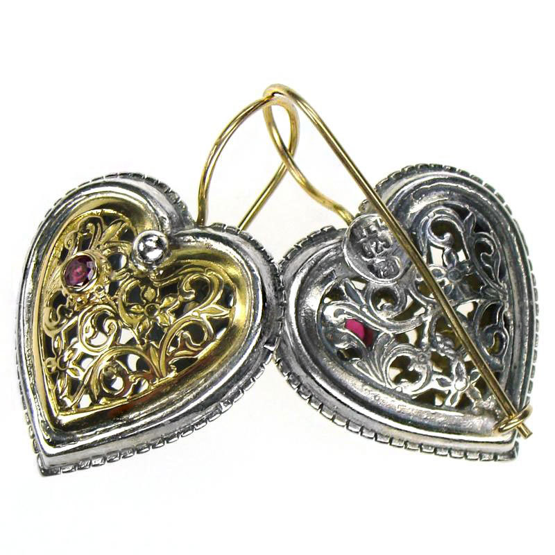 Primary image for Gerochristo 1354 -  Solid Gold, Silver & Rubies Filigree Heart Earrings