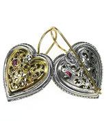 Gerochristo 1354 -  Solid Gold, Silver & Rubies Filigree Heart Earrings  - $1,000.00