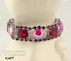 Vintage Bracelet With Beautiful Red Rhinestones (Inventory #J439) - $95.00