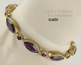 Vintage Bracelet with Dark Red Rhinestones (Inventory #J436) - $70.00