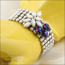 Vintage White Glass Bead Bracelet With Carnival Glass Accents (Inventory #J445) - $95.00
