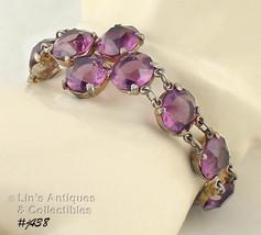 Vintage Bracelet with Purple Color Rhinestones (Inventory #J438) - $70.00