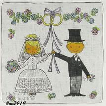 Vintage Bride and Groom Wedding Just Married Hanky Handkerchief (Inv. #M3919) - $50.00