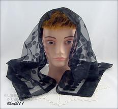 Vintage Black Nylon Scarf Chapel Scarf (Inventory #HAT311) - $20.00