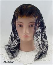 Vintage Black Lace Chapel Veil  Head Covering (Inventory #HAT307) - $38.00