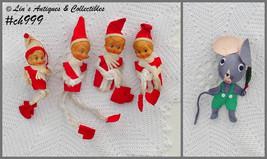 Lot of 4 Vintage Pixies Elves Ornaments Plus a Free Mouse Ornament (Inv. #CH999) - $25.00