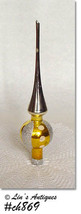 Vintage Gold and Silver Glass Christmas Tree Topper (Inventory #CH869) - $28.00