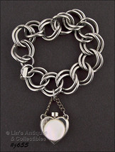Vintage Bracelet with Attached Perfume Bottle Charm (Inventory #J655) - $30.00