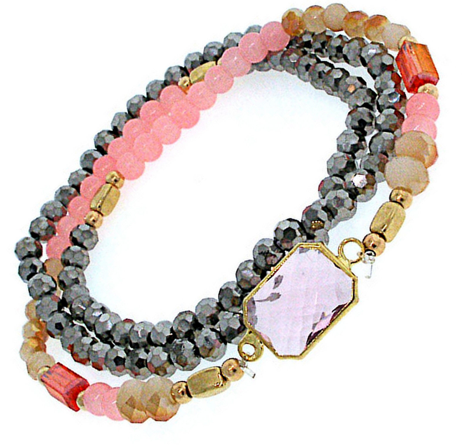 Primary image for Beautiful Pink Peach Silver Faceted Glass Triple Row Crystal Stretch Bracelet