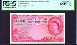 "BRITISH CARIBBEAN TERRITORIES P7c $1 ""MAP NOTE"" 1963 PCGS 65PPQ! EXTREME... - $995.00"