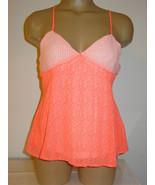 Anthropologie Paper Crane neon orange white top layered crisscross strap... - $18.17