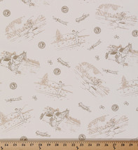Golfing Scene Vintage-look Cream Cotton Poly Blend Fabric Print By Yard D341.08 - $9.95