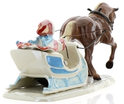 Hagen-Renaker Specialties Ceramic Christmas Figurine Horse Drawn Sleigh image 2