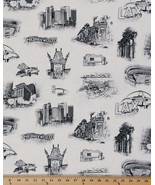 Urban Toile City Scenes Scene Canvas Cityscape Cars Car Fabric by Yard D341.09 - $11.95
