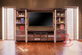 Duffy Entertainment Wall Unit TV Stand Center Media Rustic Wood Multi Color - $1,509.75