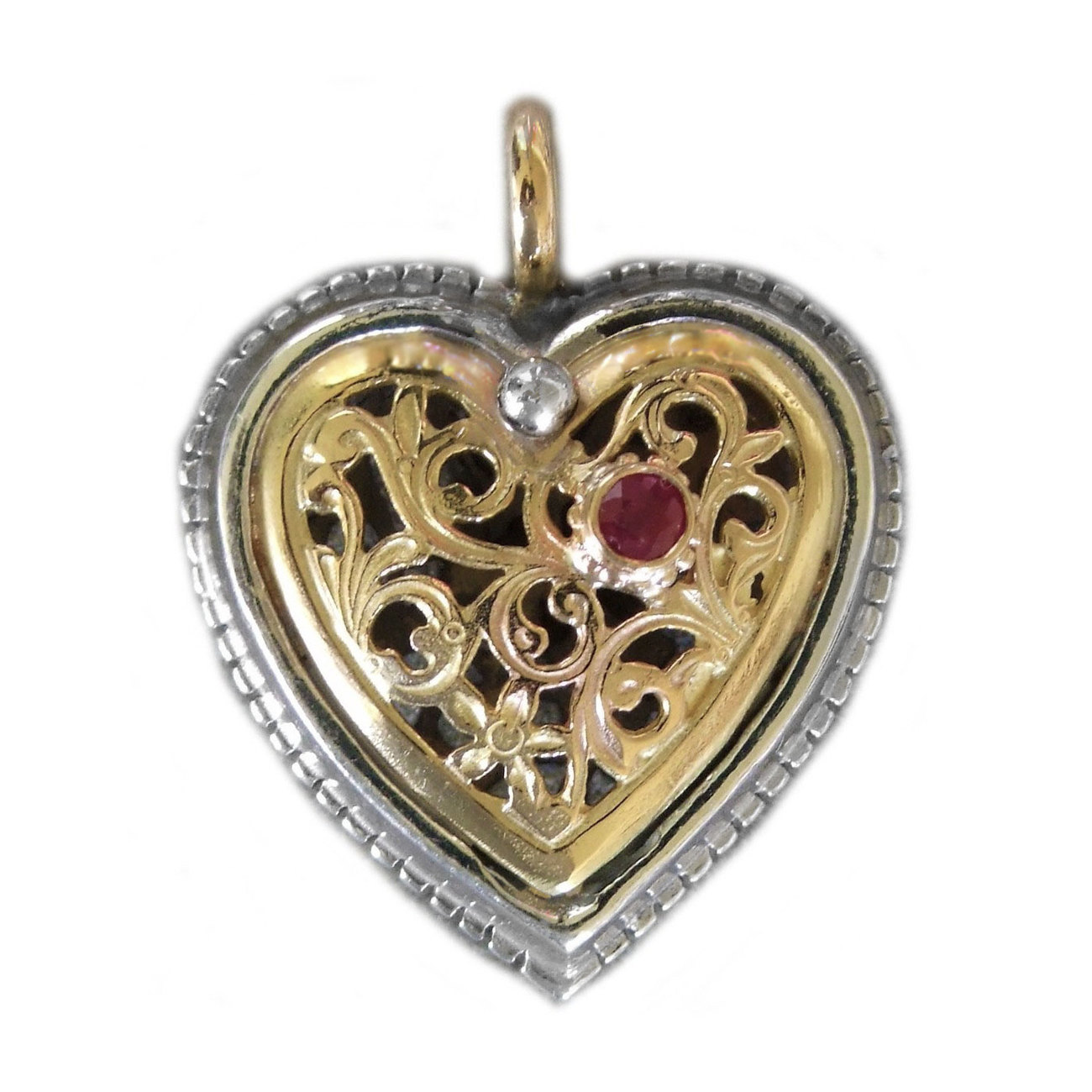 Primary image for Gerochristo 1354 -  Solid Gold, Silver & Ruby Filigree Heart Pendant