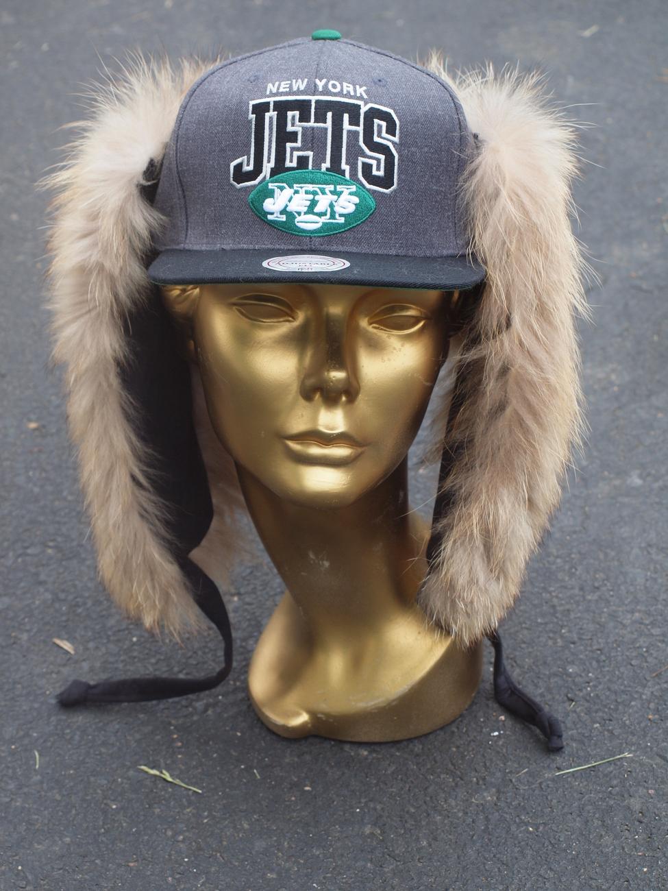 NFL MITCHELL & NESS NEW YORK JETS CUSTOM FUR HAT