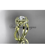 14k yellow gold leaf and vine, flower engagement ring Moissanite VD10065 - $2,600.00