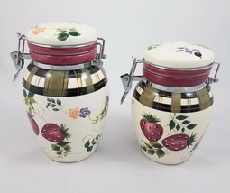 Oneida Strawberry Plaid Canister Set 2 Pc Snap Lids Hand Painted Kitchenware - $34.55