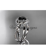 14kt white gold leaf and vine, flower engagement ring, Black Diamond VD1... - $2,650.00