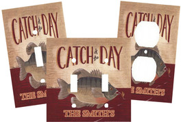 PERSONALIZED FISHING CATCH OF THE DAY FISH LIGHT SWITCH PLATE COVER HOME... - £5.31 GBP+