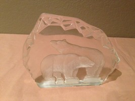 """Clear Art Glass Paperweight  Etched Ice bear-8""""... - $24.99"""