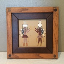 "Vintage  Framed Authentic Navajo Sand Painting 13.5 x 13.5"" - $40.00"