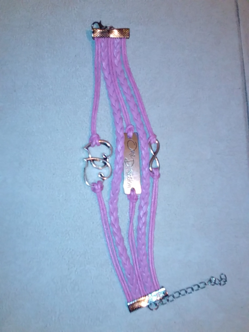 Beautiful pink leather statement bracelet One Direction