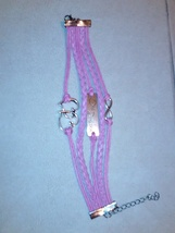 Beautiful pink leather statement bracelet One Direction image 3