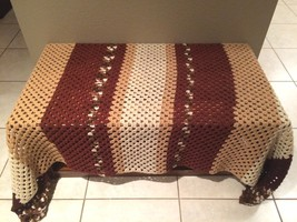 "Large Vintage Afghan Throw Lap Blanket Handmade Crochet Knit Browns 84""x47"" - $25.00"