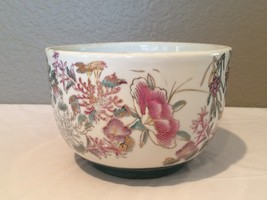 Vintage Chinese Purple, Pink and White Floral Very Large Bowl with Gold ... - $19.99